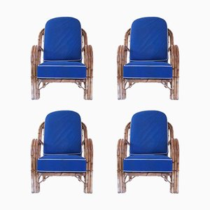 Rattan Armchairs by Audoux-Minet, 1960s, Set of 4