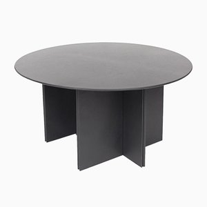Round Dining Table with Black Leather from Durlet, 1970s
