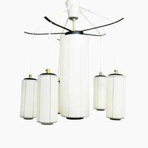 Lámpara de araña vintage de metal y vidrio, años 50