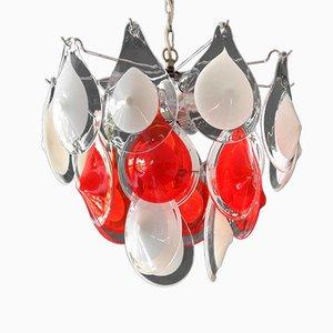 Lámpara de araña vintage de cristal de Murano rojo y blanco de Gino Vistosi para Vetreria Vistosi