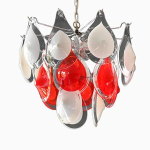 Vintage Red and White Murano Glass Chandelier by Gino Vistosi for Vetreria Vistosi
