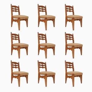 Chaises de Salon en Chêne Massif par Guillerme & Chambron, Set de 9