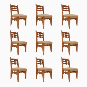 Solid Oak Dining Chairs by Guillerme et Chambron, Set of 9