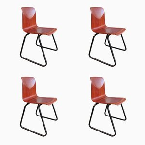 Vintage Industrial Chairs from Galvanitas Thur op Seat, 1960s, Set of 4