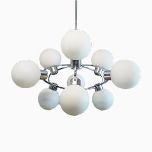 White Opaline Glass Sputnik Chandelier, 1970s