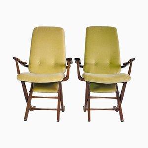 Vintage Holz & Samt Armlehnstühle mit Hohen Rückenlehnen, 2er Set