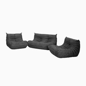 Graues Mikrofaser Togo Sofa Set von Michel Ducaroy für Ligne Roset, 1970er, 3er Set