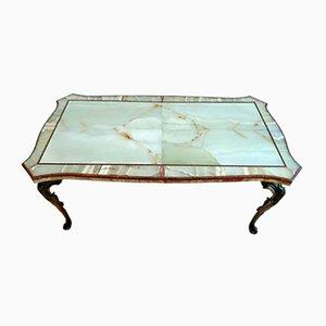 Table Basse en Onyx et Porphyre avec Socle en Bronze Coulé, Italie, 1950s