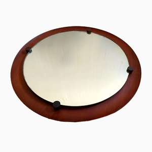 Mid-Century Round Teak Mirror by Campo e Graffi for Elam