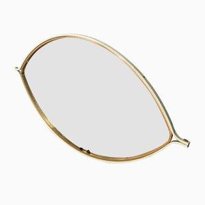 Augenförmiger Mid-Century Spiegel mit Rahmen aus Holz & Vergoldetem Metall, 1970er