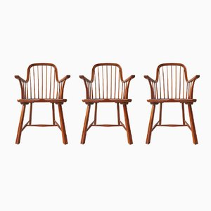 Scandinavian Beechwood Chairs, 1950s, Set of 3