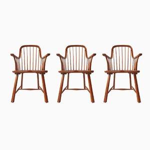 Sedie in legno curvato, Scandinavi, anni '50, set di 3