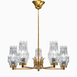 Swedish Rocket Ice Glass & Brass Chandelier with 5 Lampshades by Carl Fagerlund for Orrefors, 1960s