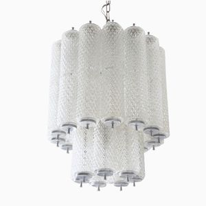 Italian Murano Ice Glass Cascade Chandelier from Mazzega, 1960s