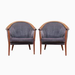 Walnut & Alcantara Lounge Chairs by Bertil Fridhagen for Bodafors, 1963, Set of 2