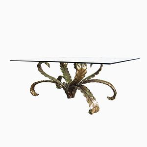 Brutalist Bronze Coffee Table with Floral Design, 1970s