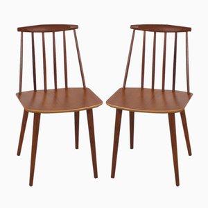 J77 Stühle aus Teak von Folke Palsson für FDB Møbelfabrik, 1960er, 2er Set