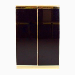 Brass, Travertine, and Black Lacquered Cabinet by Maison Jansen, 1970s