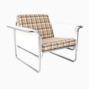 Danish Lounge Chair with White Bent Plywood Armrests, 1960s