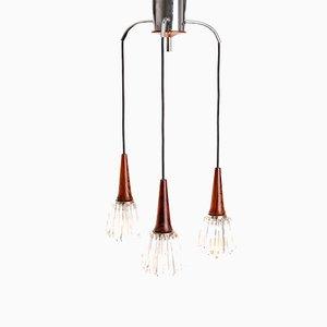 Lámpara colgante con palisandro, años 70