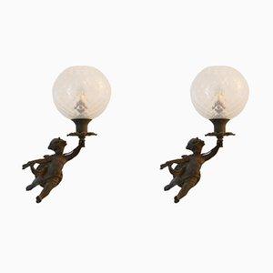 Lampade da parete a forma di angelo, metà XIX secolo, set di 2