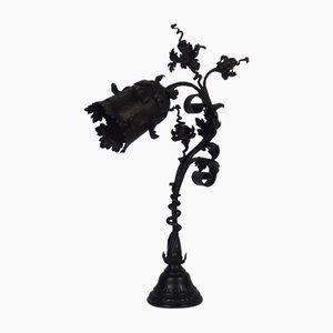 Lampe de Bureau Antique Art Nouveau en Fer Forgé par F. Marrol