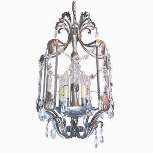 Lámpara de techo Florentine vintage de hiero forjado y cristal de BF Art
