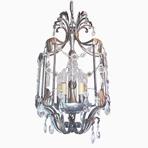 Vintage Florentine Crystal & Wrought Iron Ceiling Light by BF Art