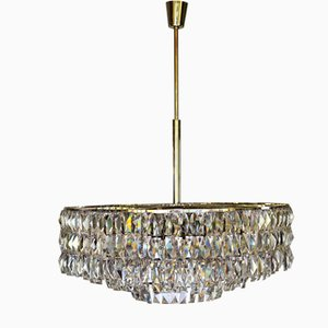 Lámpara de araña grande con 24 luces de Bakalowits, años 60