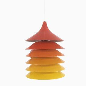 Lampade a sospensione Duett vintage in arancione, giallo e rosso di Bent Gantzel Boysen per Ikea, anni '70, set di 3