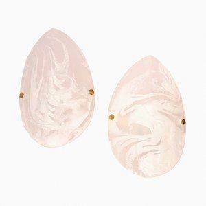Apliques de pared vintage de cristal de Murano de Hillebrand. Juego de 2