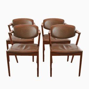 Sedie modello nr. 42 vintage in teak e pelle di Kai Kristiansen, set di 4