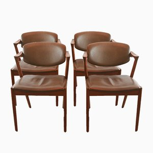 Vintage Model 42 Teak and Leather Chairs by Kai Kristiansen, Set of 4