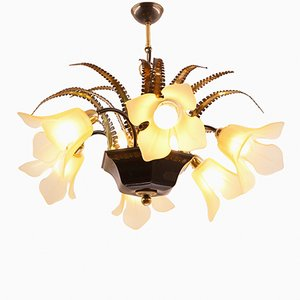 Vintage Brutalist Chandelier with Six Flower-Shaped Shades