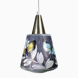 Lámpara colgante escandinava de cerámica con mariposas de Tilgmans, años 60