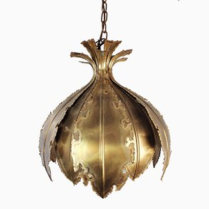 Danish Flame Cut Brass Onion Pendant by Svend Aage Holm Sørensen for Holm Sørensen & Co, 1960s