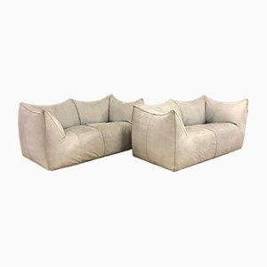 Light Grey Leather Le Bambole 2-Seater Sofas by Mario Bellini for B&B Italia, 1973, Set of 2
