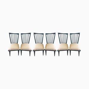 Blaue Vintage Stühle, 6er Set
