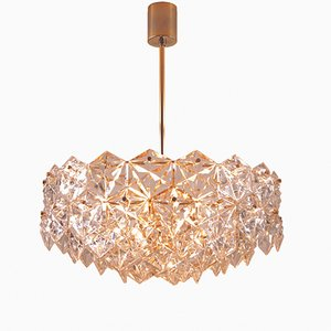 Gilt Five Tier Chandelier with Hexagonal Crystals from Kinkeldey, 1960s