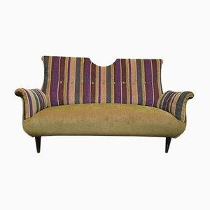 Italienisches Sofa in Gestreiften Samt, 1950er