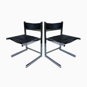 Cantilever Metal and Leather Chairs for Paolo Italy, 1970s, Set of 2