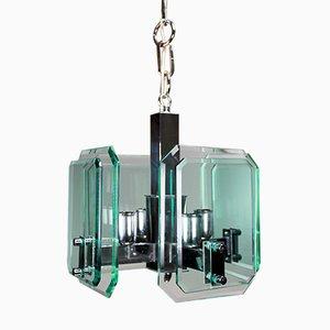 Lámpara colgante Mid-Century de vidrio teñido en verde de Veca, años 60