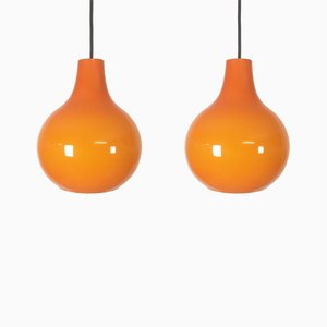 Orange Glass Hanging Lights from Peill & Putzler, 1970s, Set of 2