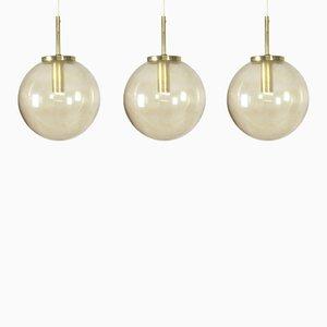 Lámparas colgantes de vidrio de Glashütte Limburg, años 60. Juego de 3