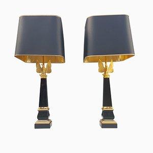 Lámparas de mesa de bronce bañadas en oro de 24 quilates, años 70. Juego de 2