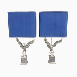 Lámparas de mesa francesas en forma de águilas de bronce niquelado, años 80. Juego de 2