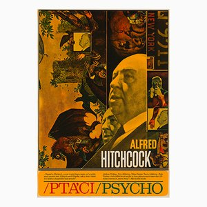 The Birds & Psycho Film Poster by Zdenek Ziegler, 1970
