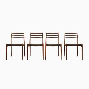 Chaises de Salon Modèle 78 Mid-Century par Niels Otto (N. O.) Møller pour J.L. Møllers, Set de 4