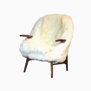Danish Teak Lounge Chair in Sheepskin, 1960s