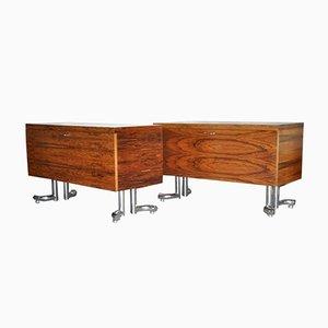 Muebles de palisandro y cromo, años 70. Juego de 2